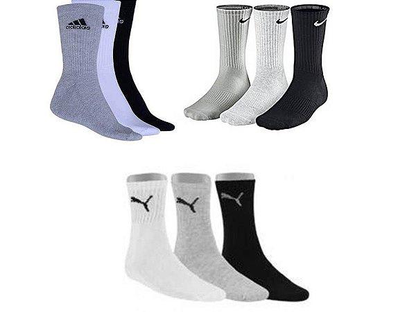 e25a5813d Kit 36 Pares De Meias Masculinas Nike Adidas Puma Atacado - Meias ...