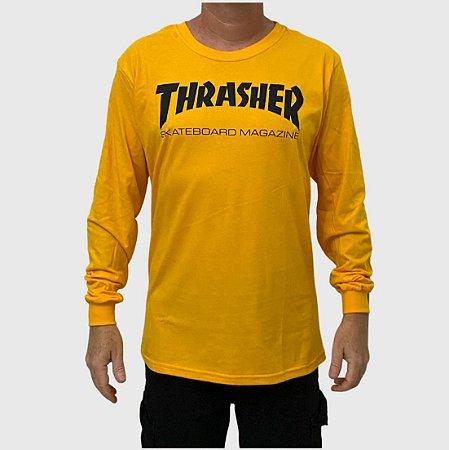 Camiseta Thrasher Manga Longa Skate Mag Amarelo