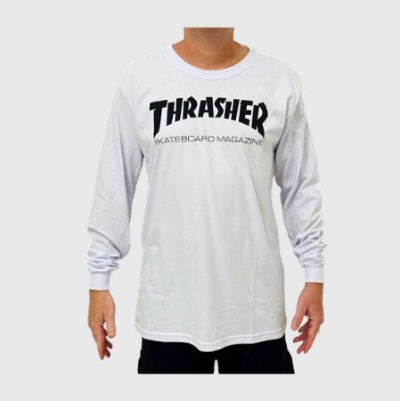 Camiseta Thrasher Manga Longa Skate Mag Branco