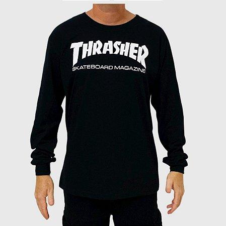 Camiseta Thrasher Manga Longa Skate Mag Preto