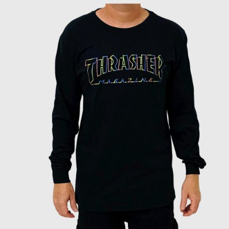 Camiseta Thrasher Manga Longa Spectrum Preto