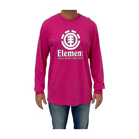 Camiseta Element Manga Longa Vertical Rosa