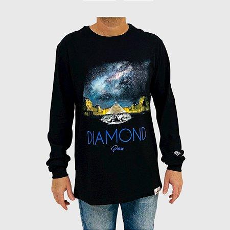 Camiseta Diamond Manga Longa Louvre Pyramid Preto