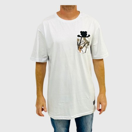 Camiseta Grizzly Winter Pocket Bear Branco