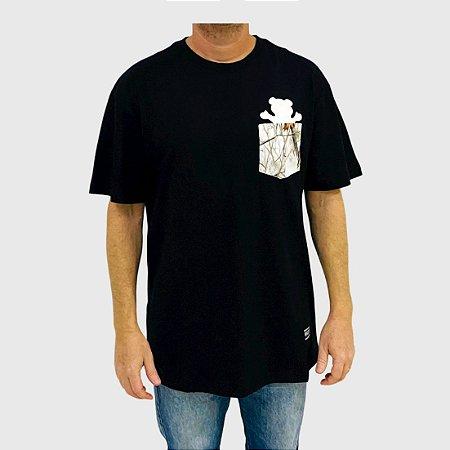 Camiseta Grizzly Winter Pocket Bear Preto