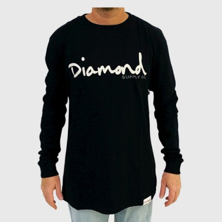 Camiseta Diamond Manga Longa Og Script Preto