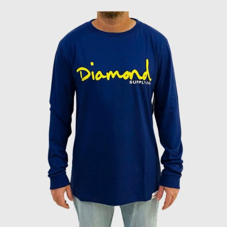 Camiseta Diamond Manga Longa Og Script Roxo