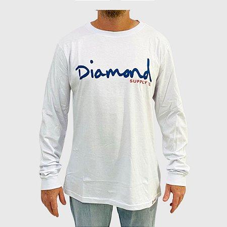Camiseta Diamond Manga Longa Og Script Branco