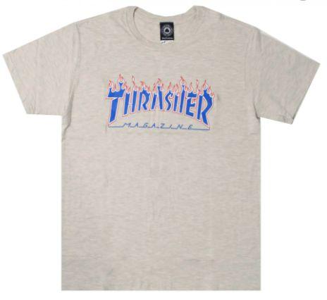 Camisa Thrasher Grey Flame Blue