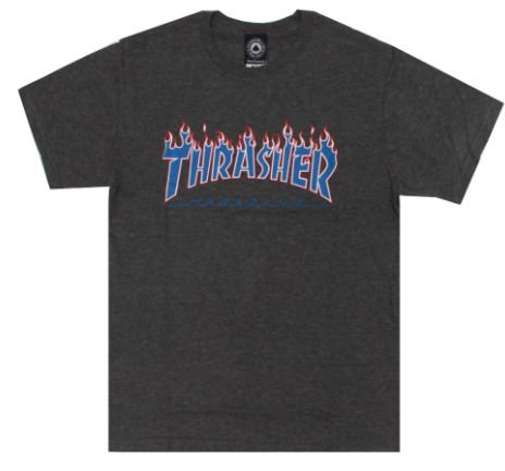 Camiseta Thrasher Grey Flame Blue/Red