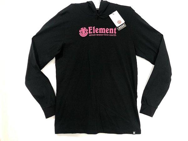 Camisa Element Manga Blazin Black Com Capuz Tam M