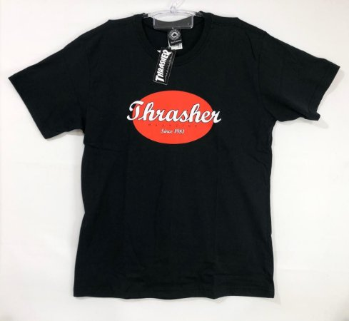 Camisa Thrasher Oval Script Preta