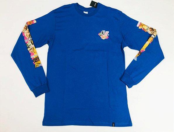 Camisa Huf Manga Longa Desire Azul Original