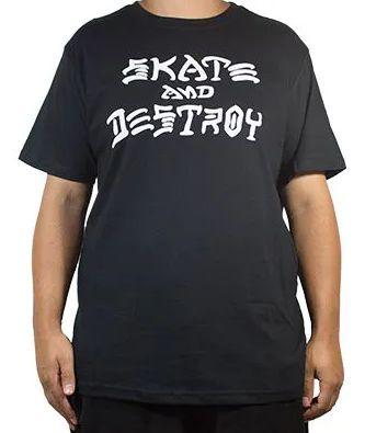 Camiseta Thrasher Magazine Skate and Destroy Importada Preta