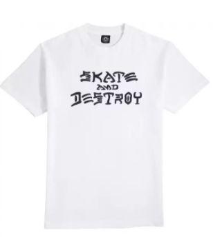 Camiseta Thrasher Magazine Skate and Destroy Importada Branca