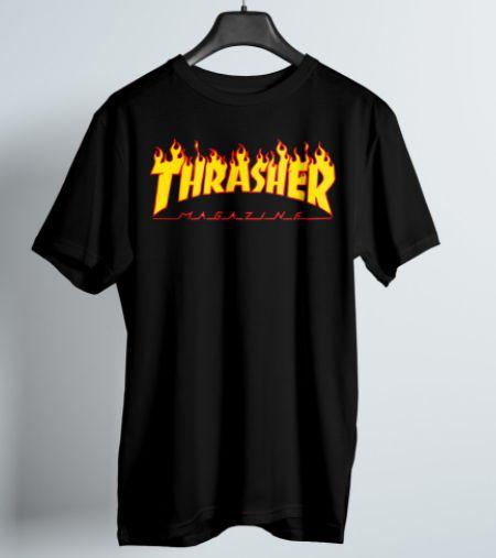Camiseta Thrasher Juvenil Flame Logo Preta Tam. 12