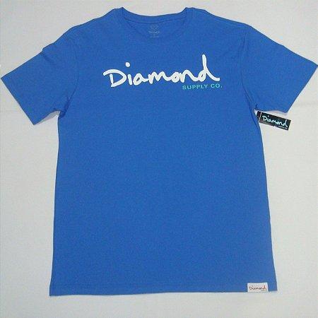 Camiseta Diamond Og Script Tee Masculina Azul Original Coleção Nova