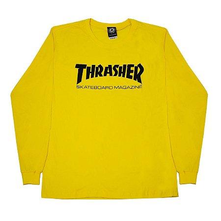 Camisa Thrasher Skate Mag Long Sle Amarelo Masculina
