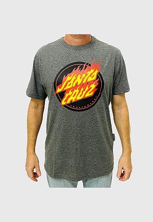 Camiseta Santa Cruz Flaming Dot Front Chumbo Mescla Masculina