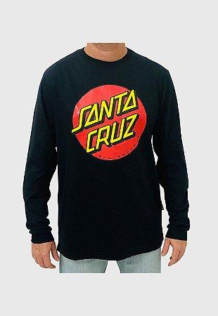 Camiseta Santa Cruz Manga Longa Classic Dot Preta Masculina