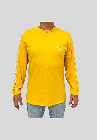 Camiseta Huf Silk Manga Longa Essentials TT Amarelo Masculina