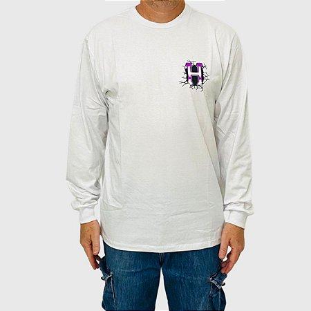 Camiseta HUF Manga Longa Giga Melted Branco