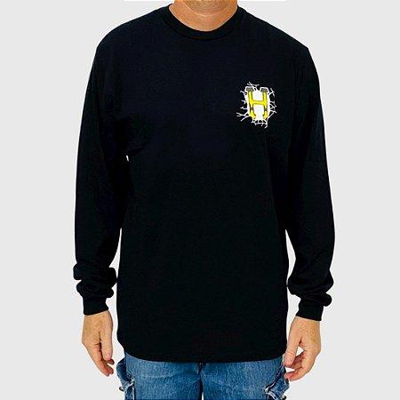Camiseta HUF Manga Longa Giga Melted Preto