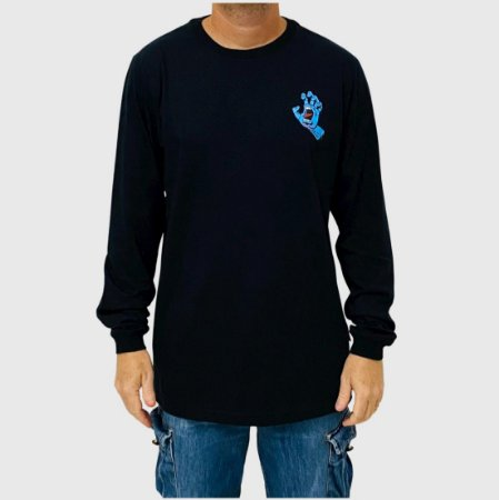 Camiseta Santa Cruz Manga Longa Screaming Hand Preto