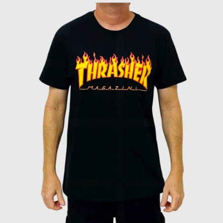 Camiseta Thrasher Flame Logo Preto