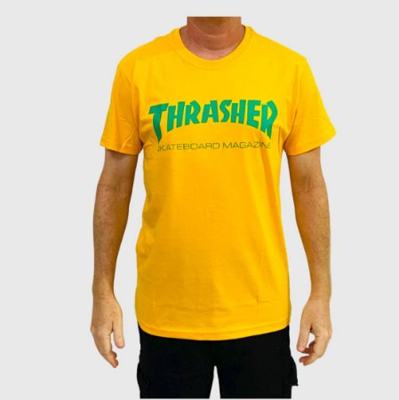 Camiseta Thrasher Skate Mag Logo Amarelo