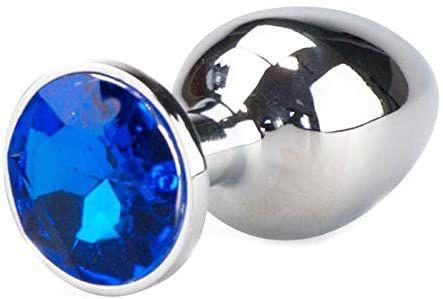 Plug Anal e Vaginal Médio Metal Aço Detalhe com Pedra de Joia