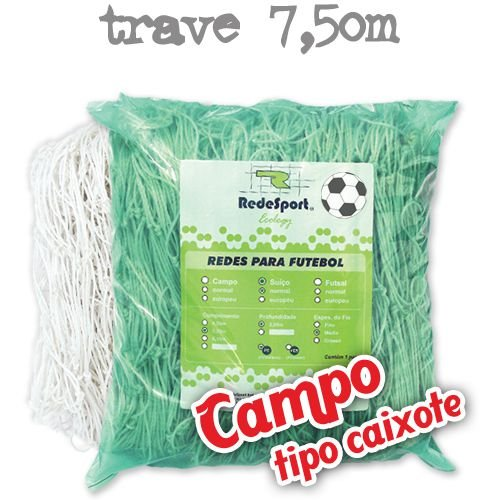 Rede para Gol Trave Oficial Futebol de CAMPO Ecology - Tipo Caixote (par)