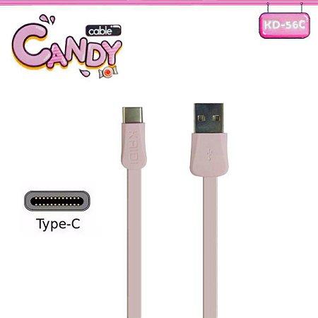 CABO USB TIPO C 1 MT KAIDI KD-56C ROSA