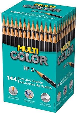 LAPIS GRAFITE MULTICOLOR Nº2 CAIXA COM 144 UN