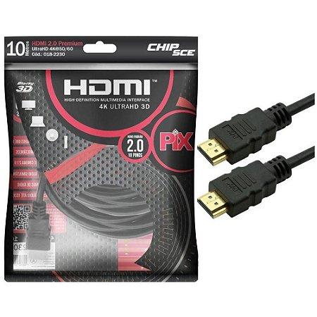 Cabo HDMI PIX 2.0 4K HDR 19 Pinos 10M 018-2230