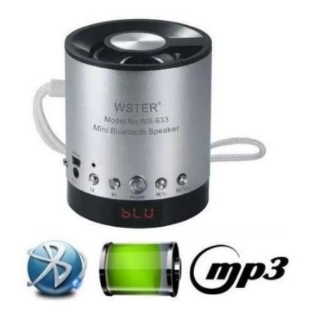 Caixa de Som MIni com Bluetooth, Sd, Usb e FM  WS-633bt - Prata