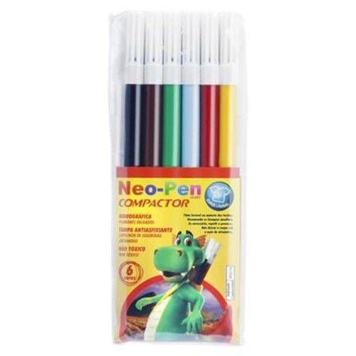 Caneta Hidrografica Neo Pen Gigante C/06 Cores Pct.C/05 Compactor