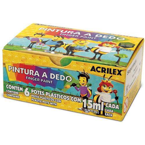 Tinta Pintura A Dedo 06 Cores 15Ml Pct.C/06 Acrilex