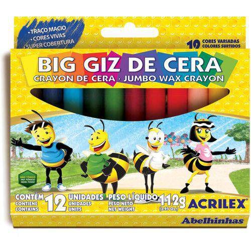 Lapis De Cera Gizao 12 Cores Big Giz Acrilex
