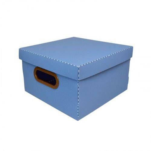 Caixa Organizadora Pequena Linho Quadrada - Azul Pastel - 2204.b - Dello