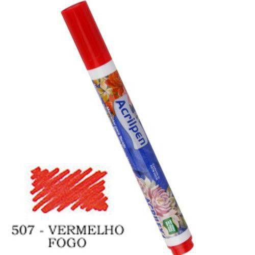 Caneta Marcador Para Tecido Acrilpen 507 Vermelho Fogo - Acrilex