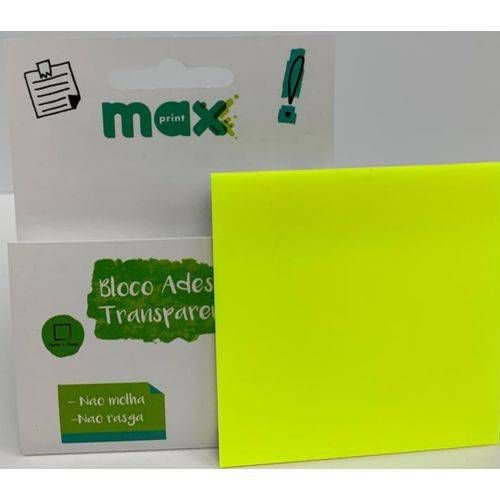 Bloco Adesivo Transparente Amarelo Neon Maxprint