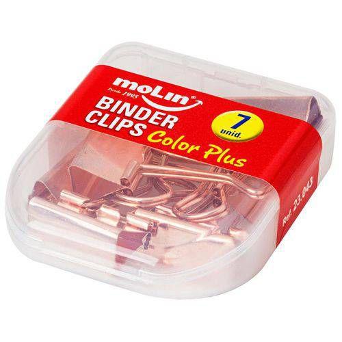 Binder Clips Color Plus Ouro Rose 25Mm Caixa Com 7 Unidades