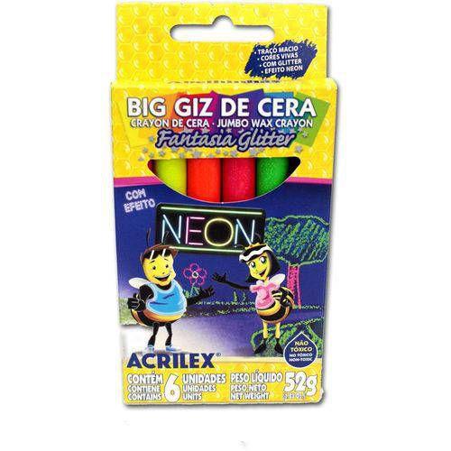 BIG GIZ DE CERA NEON GLITTER (ACRILEX)
