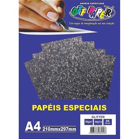 PAPEL A4 GLITTER PRETO 180G (UNITARIO)(OFF PAPER)10456