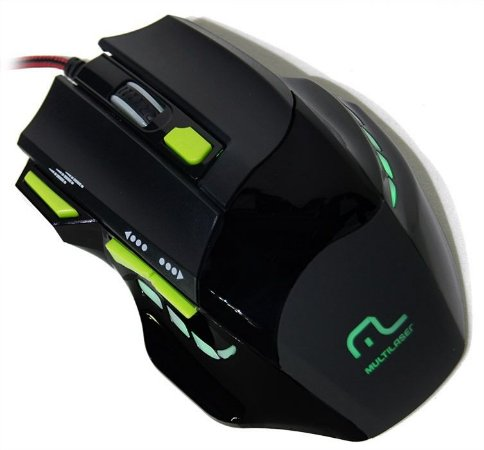 MOUSE USB GAMER (PRETO/VERDE)(FIRE)(MULTILASER)(MO208)