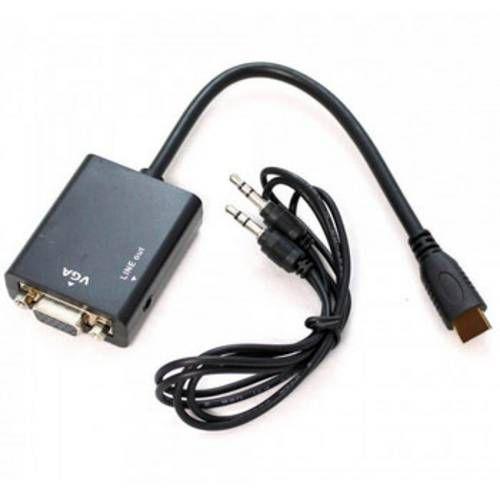 CONVERSOR HDMI-MACHO X VGA-FEMEA (25CM)(C/AUDIO)(EXBOM) CC-HV100
