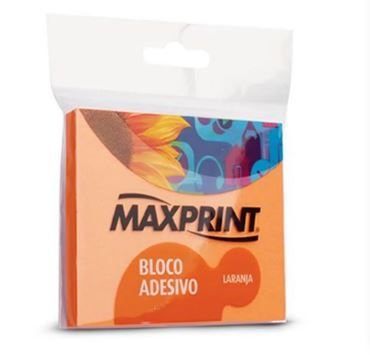 BLOCO ADESIVO NEON LARANJA 76X76 1BL 150F MAXPRINT 743359