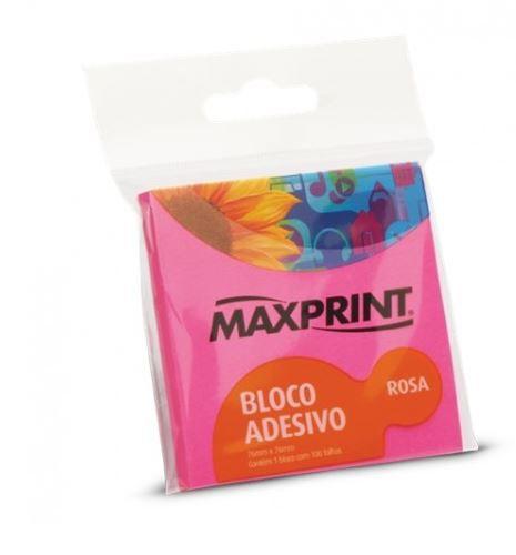 BLOCO ADESIVO NEON ROSA 76X76 1BL 150F MAXPRINT 743363