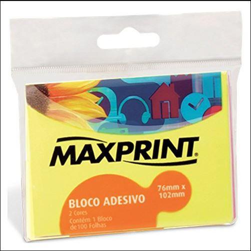 BLOCO ADESIVO NEON 2 CORES 76X102  1BL  MAXPRINT  74168-6